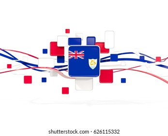 Flag of anguilla, mosaic background with lines. 3D illustration