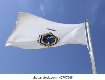 The flag of the Arab Gulf Co-operation Council, grouping the six wealthiest states of the Arabian Peninsula, Saudi, Kuwait, the UAE, Qatar, Oman and Bahrain
