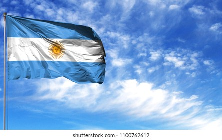 Flag of Argentina on flagpole against the blue sky