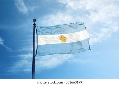 Flag of Argentina on the mast