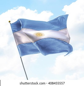 Flag of Argentina Raised Up in The Sky