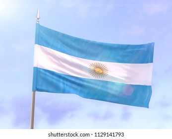 Flag of Argentina with sun flare