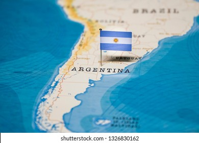 the Flag of argentina in the world map
