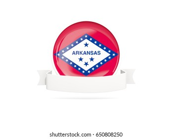 Flag of arkansas with banner, US state round icon isolated on white. 3D illustration