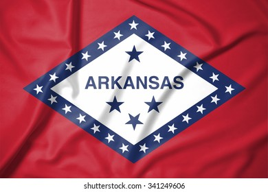 Flag of Arkansas state of United States of America on soft and smooth silk texture