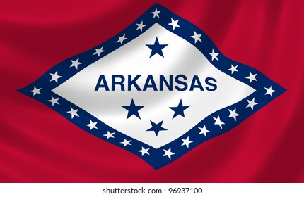 Flag of Arkansas state waving in the wind detail
