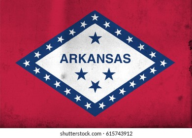Flag of Arkansas, United States of America, with an old, vintage style