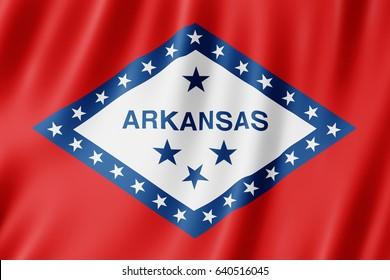 Flag of Arkansas, US state. 3D illustration of the Arkansas flag waving.