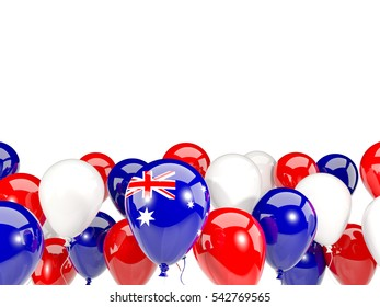 Flag of australia, with balloons isolated on white. 3D illustration