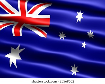 Flag of Australia, computer generated illustration with silky appearance and waves