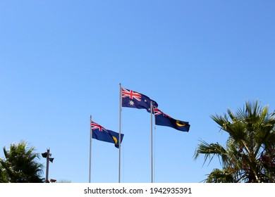 The flag of Australia is a defaced Blue Ensign, a blue field with a Union Jack in the canton (upper hoist quarter), and a large white seven-pointed  Commonwealth Star in the lower hoist quarter.