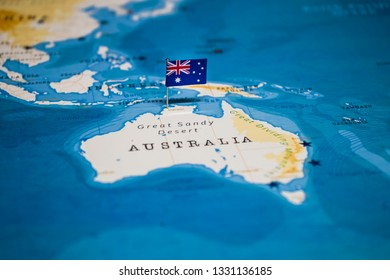 the Flag of australia on the cities in the world map
