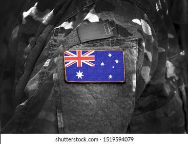 Flag of Australia on military uniform (collage).