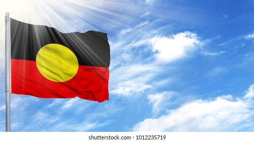 Flag of Australian Aboriginal on flagpole