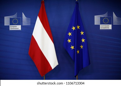 The flag of Austria and flag of Europe stands in EU Commission building in Brussels, Belgium on June 6, 2018.