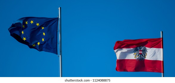 Flag of Austria and the European Union for the EU Counsil Presidency
