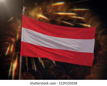 Flag of Austria with fireworks display in the background