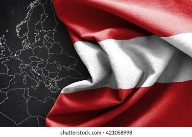 Flag of Austria on map background