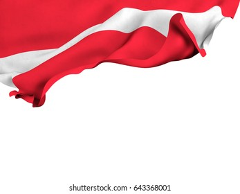 Flag of Austria shot ,isolated while waving on a white background.3D Rendering