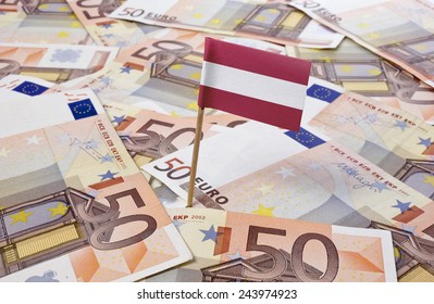 Flag of Austria sticking in european banknotes.(series)