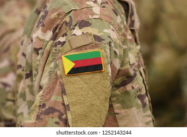 Flag of Azawad on soldiers arm. Flag of State of Azawad on military uniforms (collage).