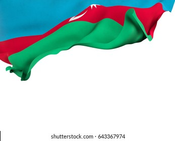 Flag of Azerbaijan shot ,isolated while waving on a white background.3D Rendering