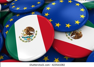Flag Badges of Mexico and Europe in Pile - Concept image for Mexican and European Relations - 3D Illustration