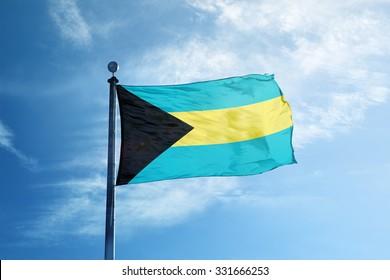Flag of Bahamas on the mast