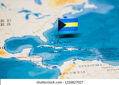 the Flag of bahamas in the world map