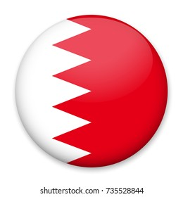 Flag of Bahrain in the form of a round button with a light glare and a shadow. The symbol of Independence Day, a souvenir, a button for switching the language on the site, an icon.