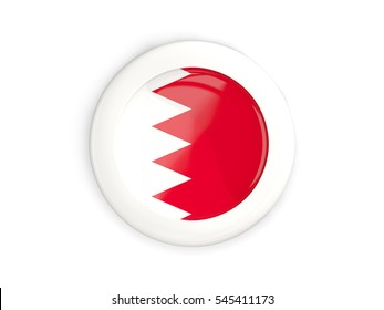 Flag of bahrain, glossy round button with white frame isolated on white. 3D illustration