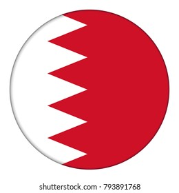 Flag of Bahrain, icon. Realistic color. Abstract concept. Raster illustration on white background.