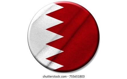 Flag of Bahrain on a fabric texture in a circle, the image in the form of an icon is isolated on a white background.