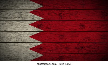 Flag of Bahrain Painted on old wood boards. wooden Bahrain flag. Abstract flag background for your text or logo. grunge Bahrain flag.