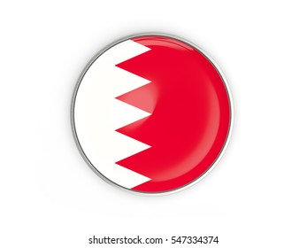 Flag of bahrain, round icon with metal frame isolated on white. 3D illustration