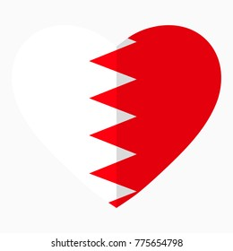 Flag of Bahrain in the shape of Heart, flat style, symbol of love for his country, patriotism, icon for Independence Day.
