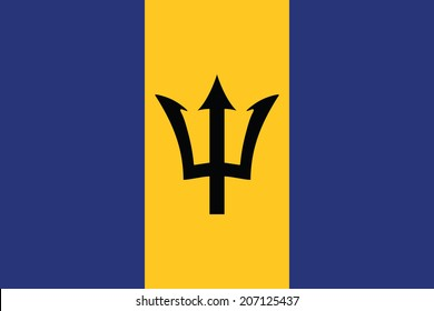 Flag of Barbados. Accurate dimensions, element proportions and colors.