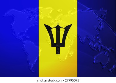 Flag of Barbados, national symbol illustration clipart with world map, metallic embossed look