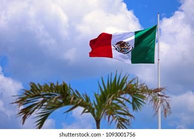 Mexico´s flag in the beach