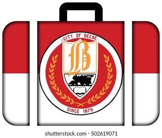 Flag of Beebe, Arkansas, USA. Suitcase icon, travel and transportation concept