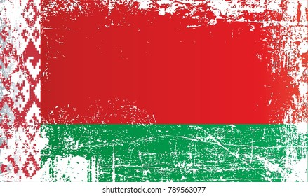 Flag of Belarus, Republic of Belarus, Wrinkled dirty spots. Can be used for design, stickers, souvenirs