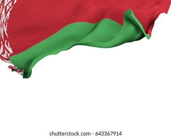 Flag of Belarus shot ,isolated while waving on a white background.3D Rendering