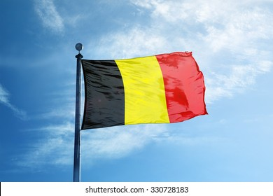 Flag of Belgium on the mast