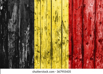 Flag of Belgium painted on wooden frame