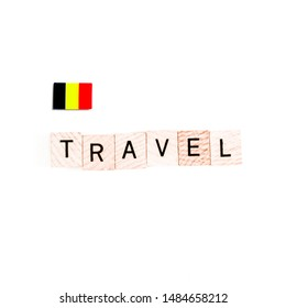"""The Flag of Belgium and """"TRAVEL"""" Wooden Block Letters"""