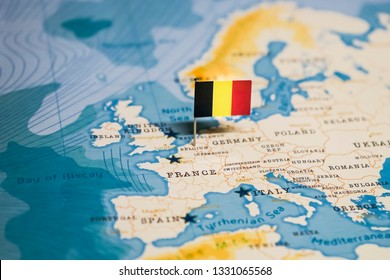 the Flag of belgium in the world map