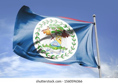 Flag of Belize cloth fabric. National Flag of Belize for Independence day.