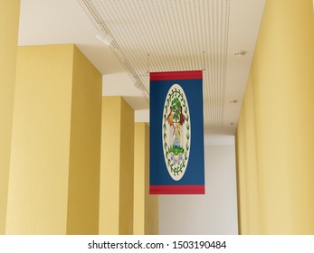 Flag of Belize hanging in gallery. Belize Flag displayed in gallery.