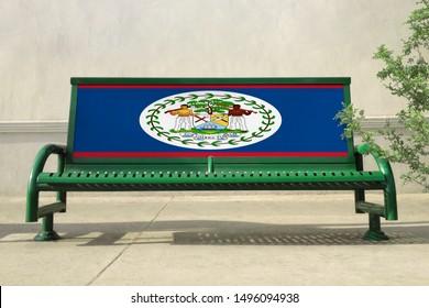 Flag of Belize on bench. Belize Flag on bench advertisement