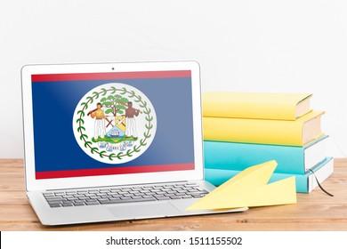 Flag of Belize on Laptop. Belize Flag on Screen.